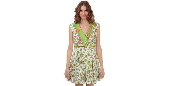 Dámské zeleno-bílé šaty s květinovým vzorem Rosalita McGee