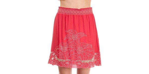 Dámská růžová sukně Rosalita McGee s květinovou výšivkou