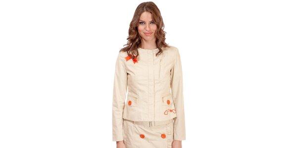 Dámské béžové sako Rosalita McGee s výšivkou