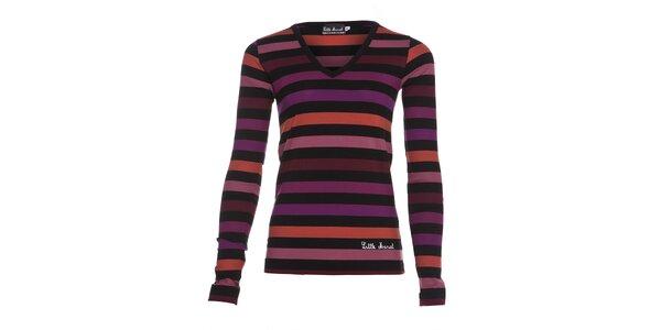 Dámské bavlněné tričko Little Marcel s výstřihem do véčka a oranžovofialovými…