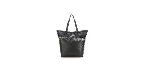 Dámská černá kabelka s šedými nápisy Abbacino