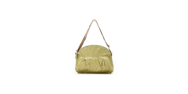 Dámská světle zelená kabelka s nastavitelným béžovým popruhem