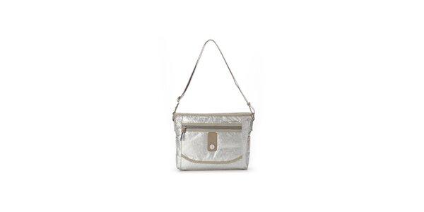 Dámská stříbrná metalická kabelka s béžovými detaily Abbacino