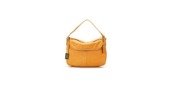 Dámská pomerančová kožená kabelka s visačkou Abbacino