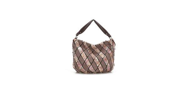 Dámská béžovo-růžová kožená kabelka s mozaikou Abbacino