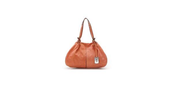 Dámská korálová kožená kabelka s černými lemy Abbacino