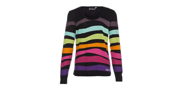 Dámské bavlněné tričko Little Marcel s barevnými proužky a ozdobnými knoflíčky