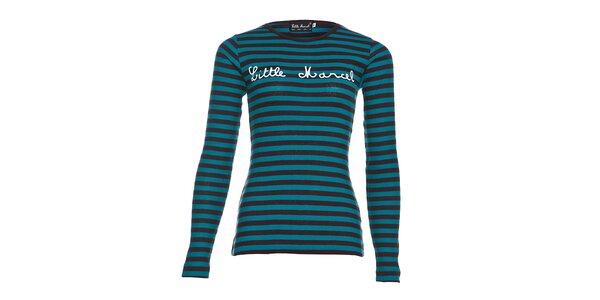 Dámské azurově modré bavlněné tričko Little Marcel s černým proužkem