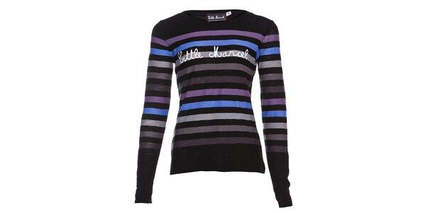 Dámské bavlněné tričko s dlouhým rukávem a modrofialovými proužky