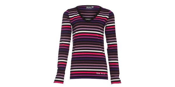 Dámské bavlněné tričko Little Marcel s výstřihem do véčka a růžovofialovými…