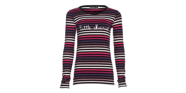 Dámské bavlněné tričko Little Marcel s kulatým výstřihem a růžovofialovými…