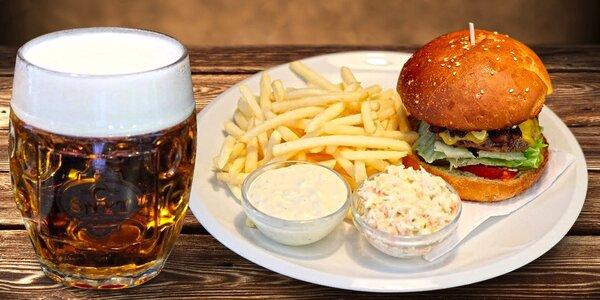 Hovězí burger ŠNYT s hranolky a pivem
