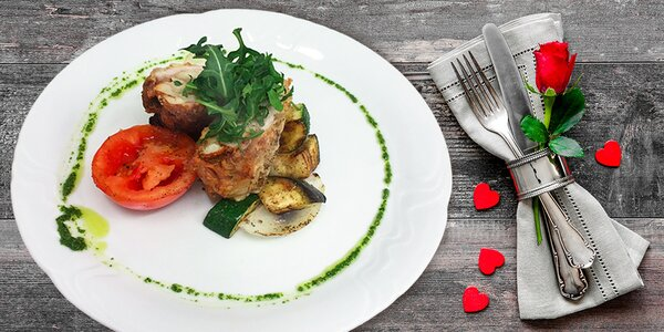 Valentýnské menu na Lešné vč. sektu s jahodou
