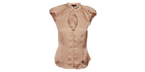 Dámská béžová hedvábná košile Miss Sixty s velkým průstřihem