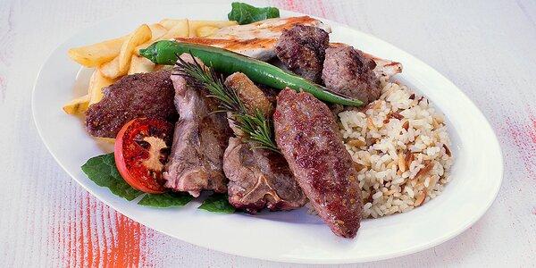 Turecký mix grill – 450 g masa s přílohami