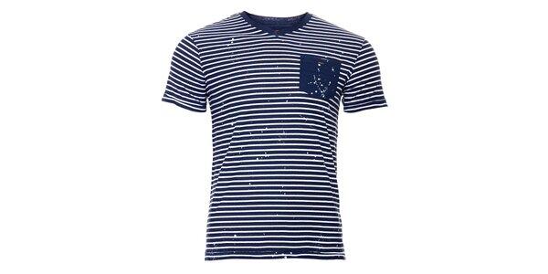 Pánské tričko SixValves s modrým proužkem a kapsičkou