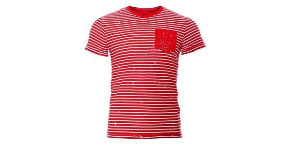 Pánské tričko SixValves s červeným proužkem a kapsičkou