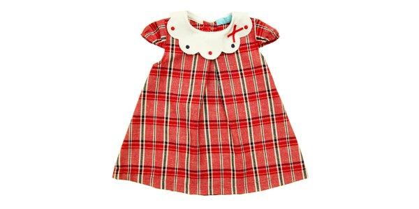 Holčičí červené kostkované šatečky s bílým límečkem Lullaby
