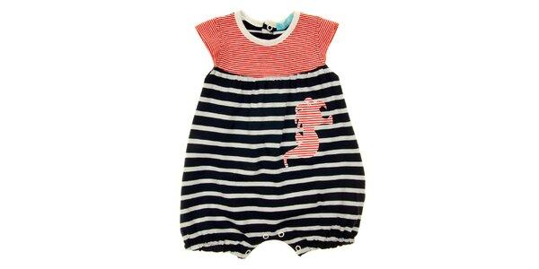 Dětské modro-bílo-červené proužkované body s mořským koníkem Lullaby