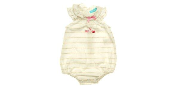 Dětské béžovo-bílé proužkované body s růžovou mašličkou Lullaby