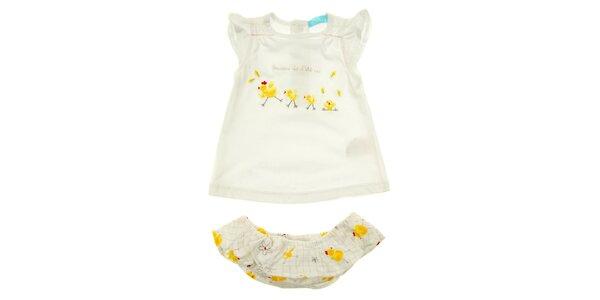 Holčičí bílý set trička a kalhotek s kuřátky Lullaby