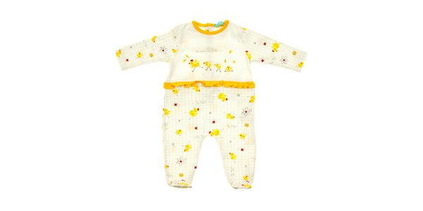 Dětské bílé body s dlouhými rukávy a kuřátky Lullaby