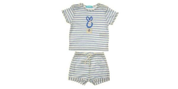 Dětský set trička a kraťasů s modro-bílým proužkem Lullaby
