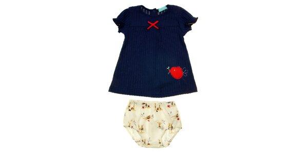Dětský komplet modrého trička a barevných kahotek