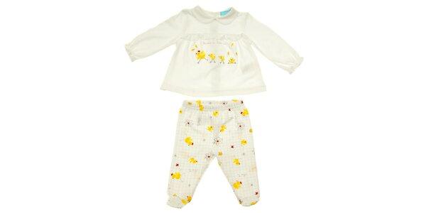 Dětský bílý set trička a kalhotek s kuřátky Luillaby