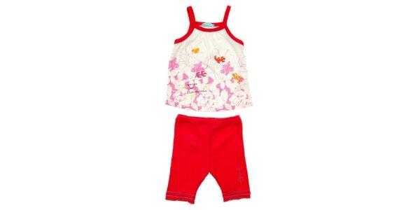 Dětský červeno-bílý komplet tílka a kalhot Lullaby