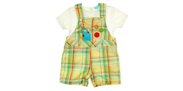 Dětský komplet bílého trička a kostkovaných kalhot s kšandami Lullaby