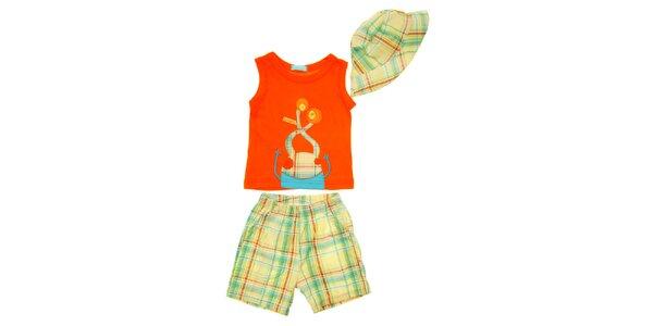 Dětský set oranžového tílka, kraťasů a čepičky Lullaby