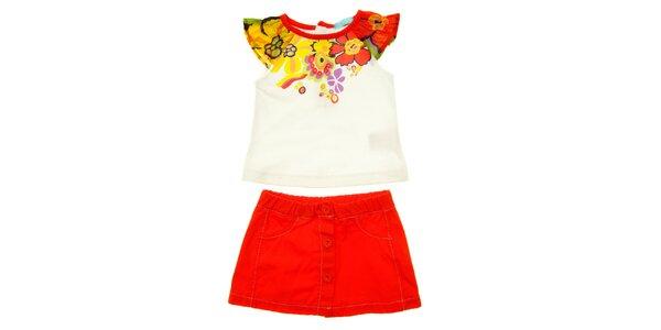 Dětský červeno-bílý set sukýnky a trička s volánkem Lullaby