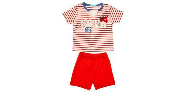 Dětský červeno-bílý set kraťasů a trička s piráty Lullaby