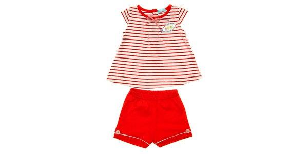 Holčičí komplet pruhované tuniky a červených kraťasů Lullaby