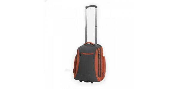 Šedo-oranžový batoh na kolečkách Esprit