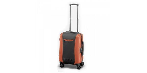 Šedo-oranžový kufr Esprit malý