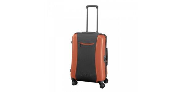 Šedo-oranžový kufr Esprit střední