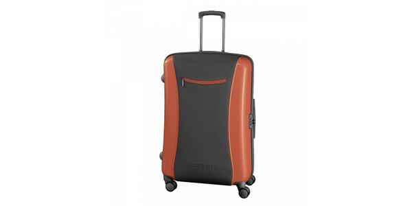 Šedo-oranžový kufr Esprit velký