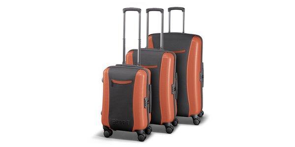 Šedo-oranžová sada tří kufrů Esprit