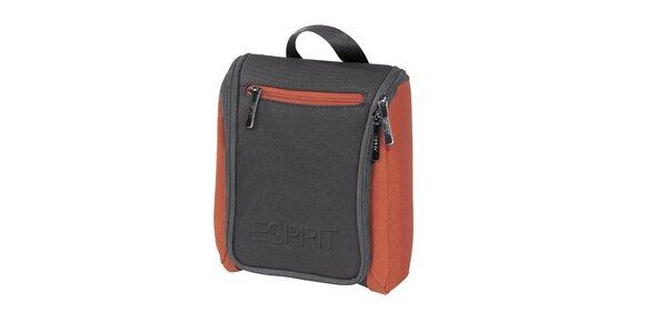 Šedo-oranžová kosmetická taštička Esprit