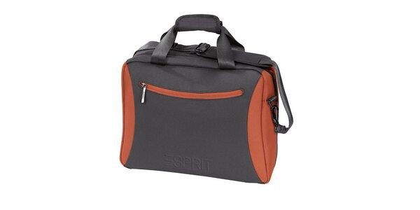Šedo-oranžový příruční kufr Esprit