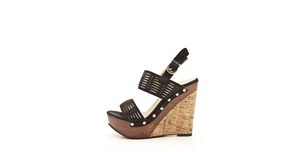 Dámské černé sandály na klínku Boaime