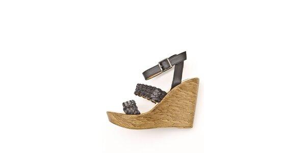 Dámské černé sandály Boaime na vysokém klínu