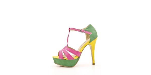 Dámské růžovo-zeleno-žluté sandálky Boaime