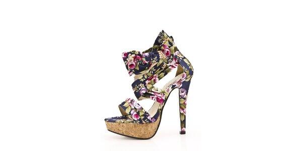 Dámské modré sandálky s květinovým vzorem na jehlovém podpatku Boaime
