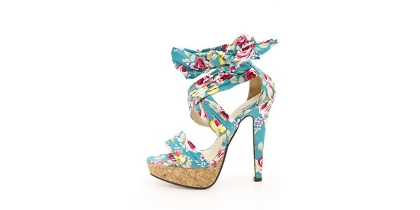 Dámské tyrkysové sandálky s květinovým vzorem na jehlovém podpatku Boaime