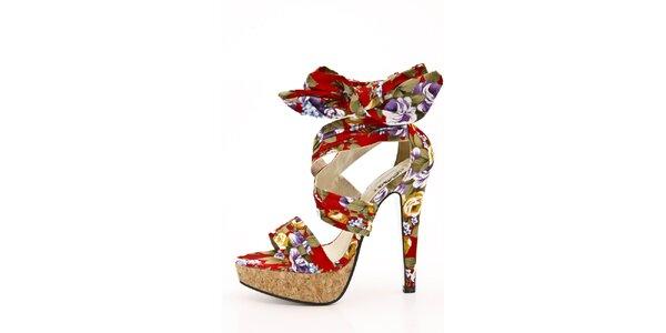 Dámské červené sandálky s květinovým vzorem na jehlovém podpatku Boaime