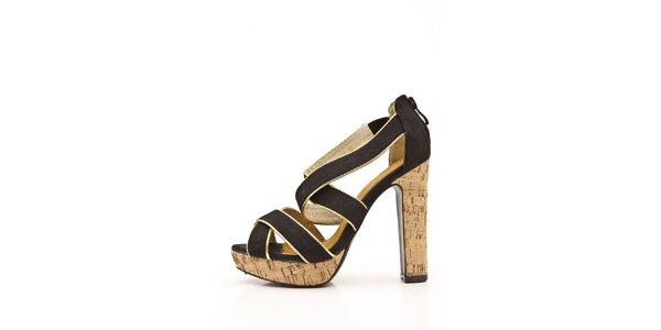 Dámské černé páskové sandálky s korkovým podpatkem Boaime