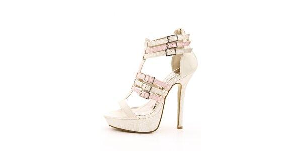 Dámské růžovo-krémové sandálky na jehlovém podpatku Boaime